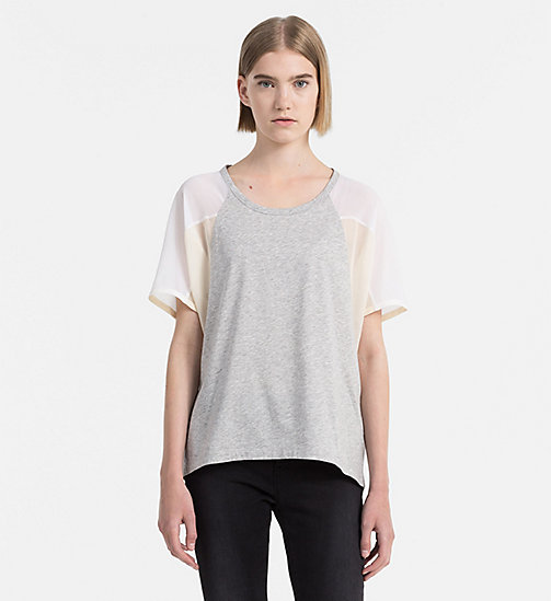 T-Shirt aus Materialmix - LIGHT GREY HEATHER / DAWN - CALVIN KLEIN JEANS T-SHIRTS - main image