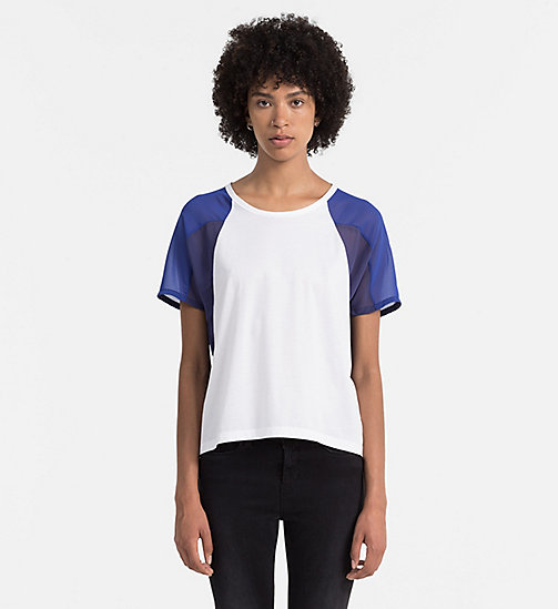 CALVIN KLEIN JEANS Material Mix T-shirt - BRIGHT WHITE / MAZARINE BLUE - CALVIN KLEIN JEANS ACTION-PACKED - main image