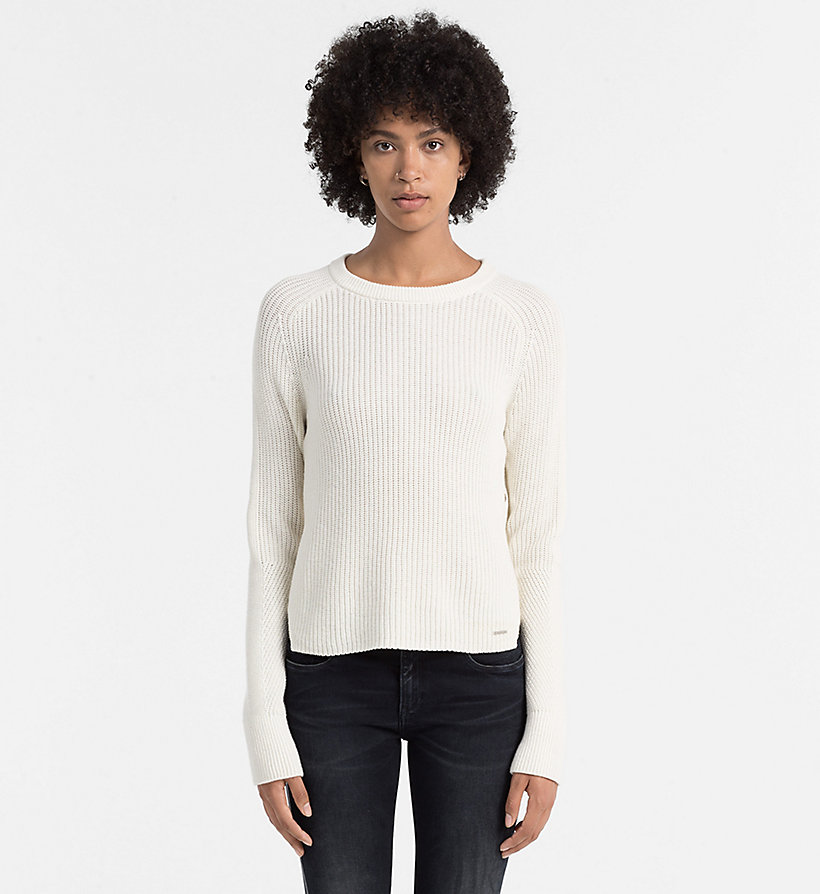 CALVIN KLEIN JEANS Wool Blend Sweater - BRIGHT WHITE - CALVIN KLEIN JEANS JUMPERS - main image