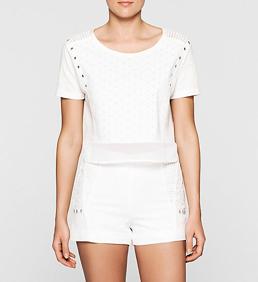 CKJEANS Cropped Broderie Top - BRIGHT WHITE - CK JEANS Up to 40% - main image