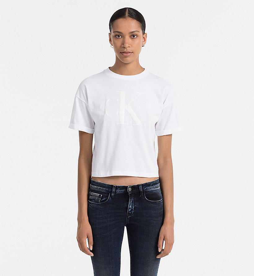 CALVIN KLEIN JEANS Cropped Logo T-shirt - BRIGHT WHITE - CALVIN KLEIN JEANS T-SHIRTS - main image