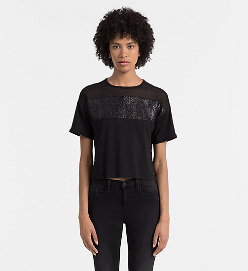 CKJEANS Lace Panel T-shirt - CK BLACK - CK JEANS  - main image
