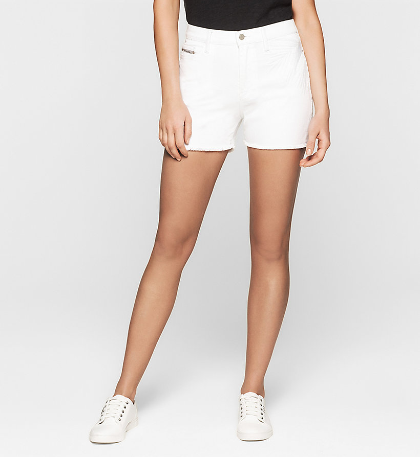 CKJEANS High Rise Embroidered Denim Shorts - WHITE PALM EMBRO - CK JEANS SHORTS - main image