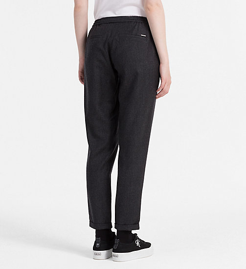 CALVIN KLEIN JEANS Wool Slim Chino Trousers - DARK GREY HEATHER - CALVIN KLEIN JEANS TROUSERS - detail image 1