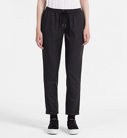 CALVIN KLEIN JEANS Wool Slim Chino Trousers - DARK GREY HEATHER - CALVIN KLEIN JEANS TROUSERS - main image