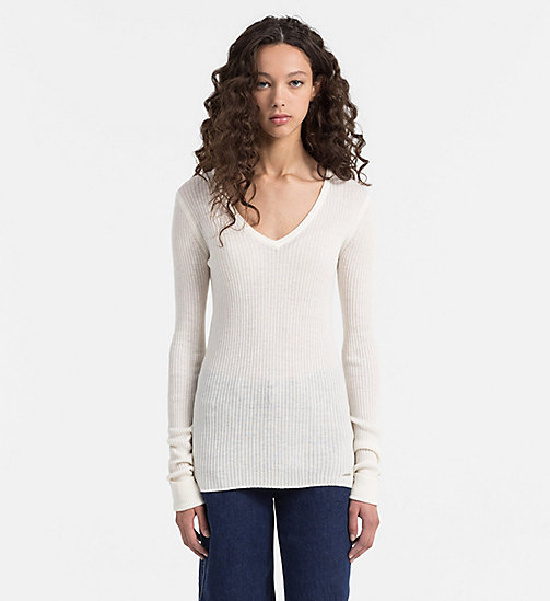 CALVIN KLEIN JEANS Wool Blend Sweater - EGRET - CALVIN KLEIN JEANS JUMPERS - main image