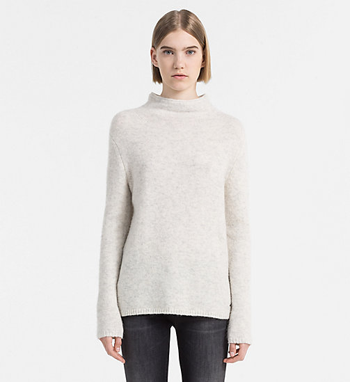 CALVIN KLEIN JEANS Alpaca Wool Turtleneck Sweater - EGRET HEATHER - CALVIN KLEIN JEANS JUMPERS - main image