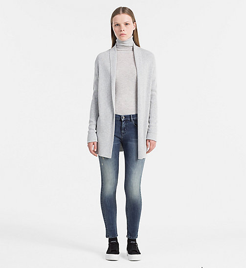 Schal-Cardigan aus Wollgemisch - LIGHT GREY HEATHER - CALVIN KLEIN JEANS PULLOVER - main image 1