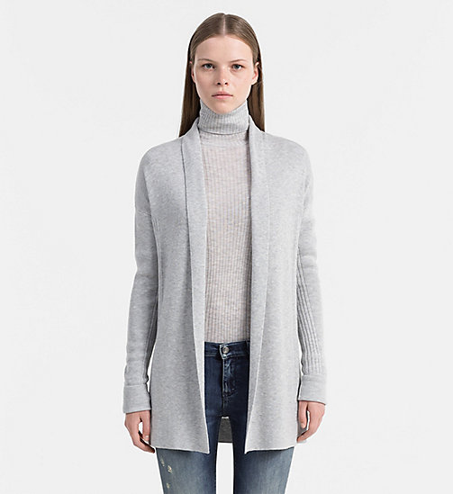 Schal-Cardigan aus Wollgemisch - LIGHT GREY HEATHER - CALVIN KLEIN JEANS PULLOVER - main image