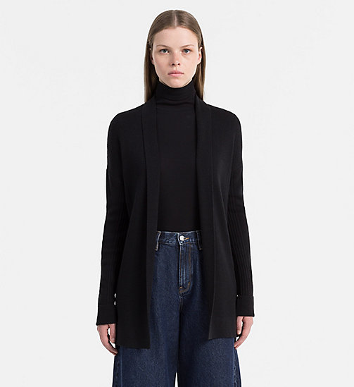 Wool Blend Shawl Cardigan - CK BLACK - CALVIN KLEIN JEANS JUMPERS - main image