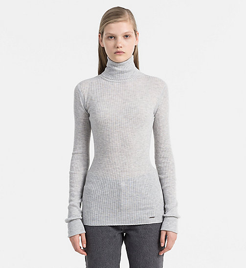 Rollkragenpullover aus Wollgemisch - LIGHT GREY HEATHER - CALVIN KLEIN JEANS PULLOVER - main image