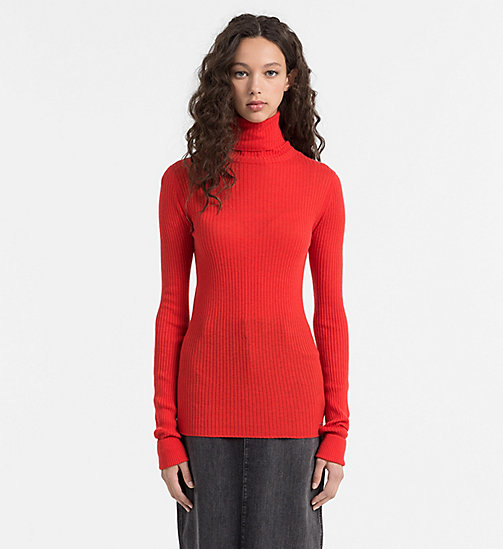CALVIN KLEIN JEANS Wool Blend Roll Neck Sweater - FLAME SCARLET - CALVIN KLEIN JEANS JUMPERS - main image