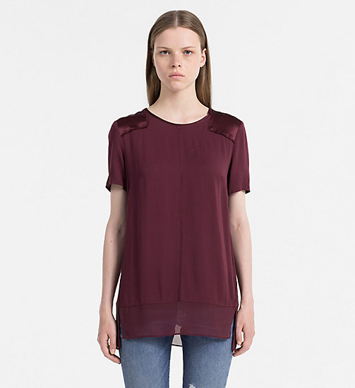 CALVIN KLEIN JEANS Satin Trim Top - FIG - CALVIN KLEIN JEANS GIFTS FOR HER - main image