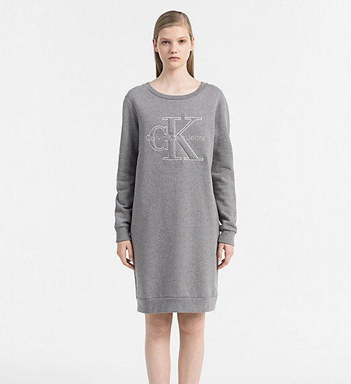 CALVIN KLEIN JEANS Logo Sweater Dress - LIGHT GREY HEATHER - CALVIN KLEIN JEANS GIFTS FOR HER - main image