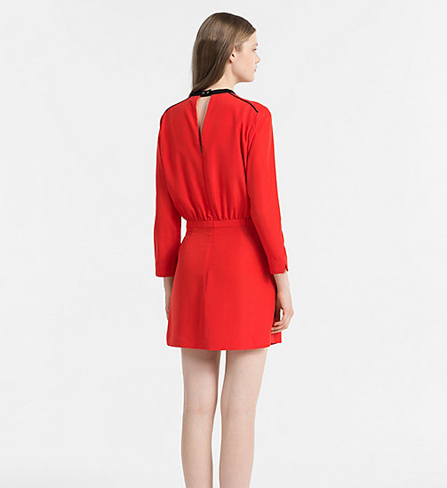 Crepe Slit Back Dress - FLAME SCARLET - CALVIN KLEIN JEANS DRESSES - detail image 1