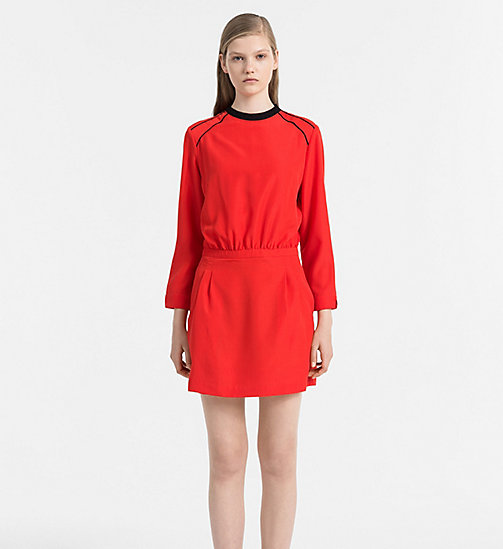Crepe Slit Back Dress - FLAME SCARLET - CALVIN KLEIN JEANS DRESSES - main image