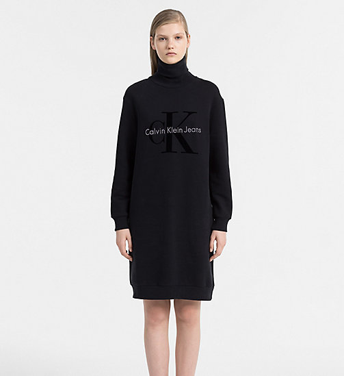 CALVIN KLEIN JEANS Logo Roll Neck Sweater Dress - CK BLACK - CALVIN KLEIN JEANS DRESSES - main image