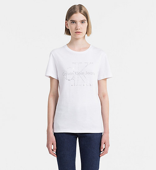 CALVIN KLEIN JEANS Metallic Logo T-shirt - BRIGHT WHITE - CALVIN KLEIN JEANS GIFTS FOR HER - main image