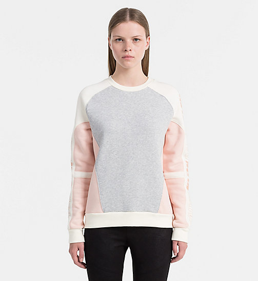 CALVIN KLEIN JEANS Sporty Logo Sweatshirt - LIGHT GREY HEATHER / PEACHY KEEN / EGRET - CALVIN KLEIN JEANS SWEATSHIRTS - main image