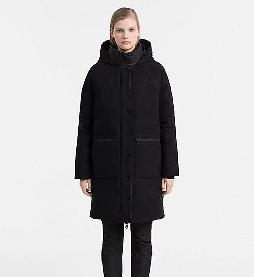 CALVIN KLEIN JEANS Hooded Down Coat - CK BLACK - CALVIN KLEIN JEANS COATS - main image