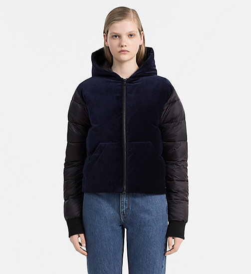 Padded Velveteen Jacket - DARK BLUE DENIM - CALVIN KLEIN JEANS OUTERWEAR - main image