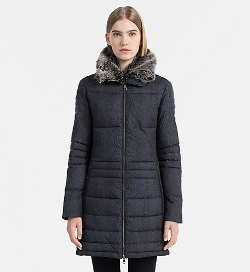 Fitted Padded Coat - SNAKE AOP DARK INDIGO - CALVIN KLEIN JEANS OUTERWEAR - main image