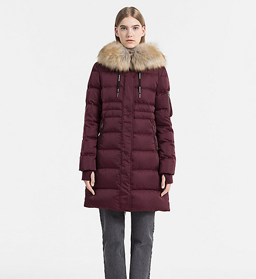 CALVIN KLEIN JEANS Hooded Down Coat - FIG - CALVIN KLEIN JEANS COATS - main image