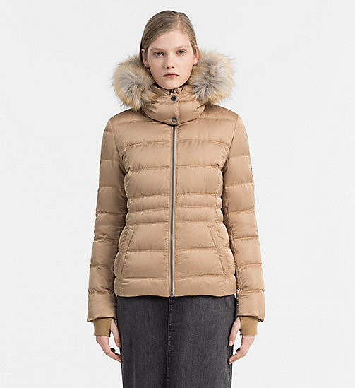 Hooded Down Jacket - TANNIN - CALVIN KLEIN JEANS OUTERWEAR - main image