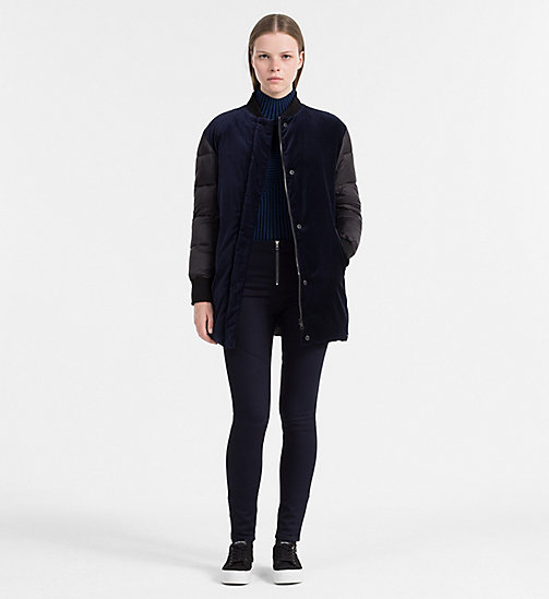 Velveteen Long Bomber Jacket - DARK BLUE DENIM - CALVIN KLEIN JEANS OUTERWEAR - detail image 1