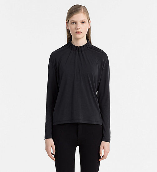 Slit Back Longsleeve Top - CK BLACK - CALVIN KLEIN JEANS CLOTHING - main image