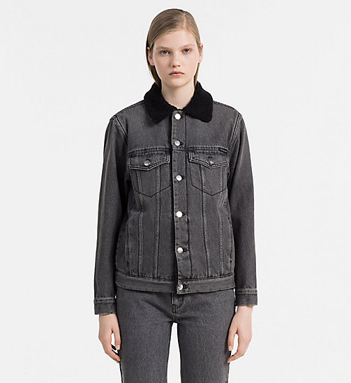 CALVIN KLEIN JEANS Sherpa Trucker Jacket - BLACK TOP RIGID - CALVIN KLEIN JEANS CLOTHES - main image