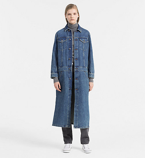CALVIN KLEIN JEANS Long Denim Coat - RUGGED BLUE - CALVIN KLEIN JEANS COATS - detail image 1