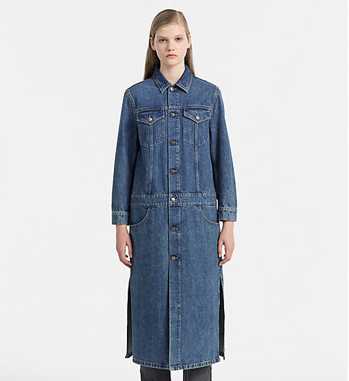 CALVIN KLEIN JEANS Long Denim Coat - RUGGED BLUE - CALVIN KLEIN JEANS COATS - main image