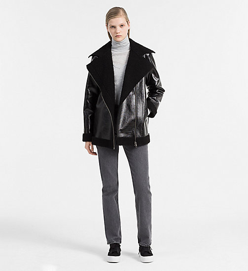 Coated Faux Shearling Jacket - CK BLACK - CALVIN KLEIN JEANS OUTERWEAR - detail image 1
