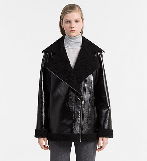 Coated Faux Shearling Jacket - CK BLACK - CALVIN KLEIN JEANS OUTERWEAR - main image
