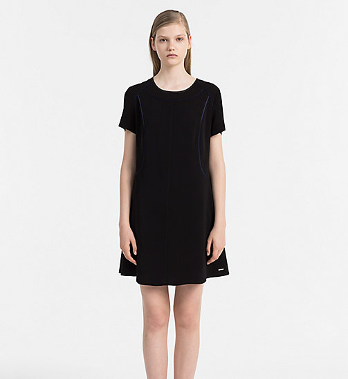CALVIN KLEIN JEANS Flared Satin Dress - CK BLACK - CALVIN KLEIN JEANS DRESSES - main image