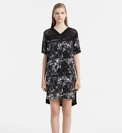 CALVIN KLEIN JEANS Mesh Trim Printed Dress - SPEED RACER AOP CK BLACK - CALVIN KLEIN JEANS DRESSES - main image