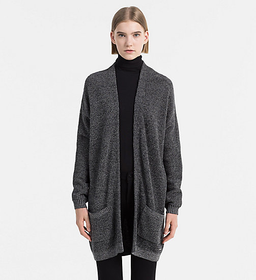 Mouliné Wool Blend Cardigan - CK BLACK / EGRET - CALVIN KLEIN JEANS JUMPERS - main image