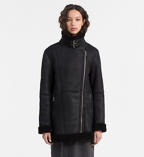 CALVIN KLEIN JEANS Shearling Leather Biker Coat - CK BLACK - CALVIN KLEIN JEANS COATS - main image