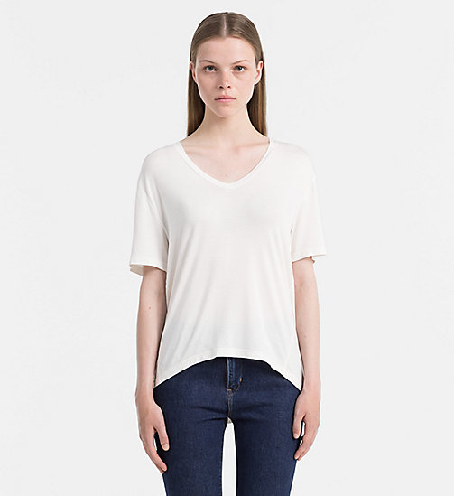 CALVIN KLEIN JEANS Jersey V-Neck Top - EGRET - CALVIN KLEIN JEANS T-SHIRTS - main image