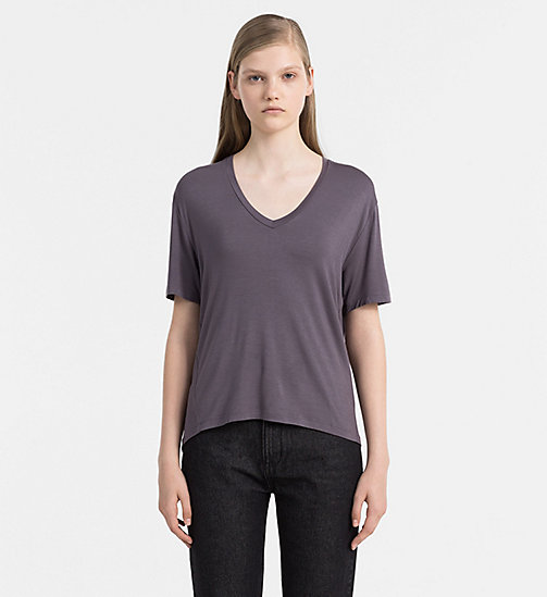 CALVIN KLEIN JEANS Jersey V-Neck Top - RABBIT - CALVIN KLEIN JEANS GIFTS FOR HER - main image
