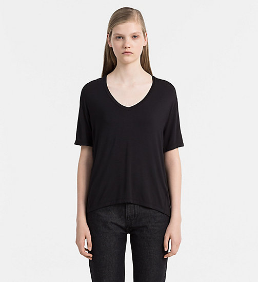 CALVINKLEIN Jersey V-Neck Top - CK BLACK - CALVIN KLEIN JEANS CLOTHING - main image