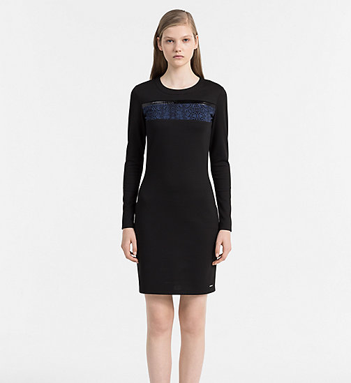 CALVIN KLEIN JEANS Fitted Jersey Dress - SNAKE AOP DARK INDIGO - CALVIN KLEIN JEANS CLOTHES - main image