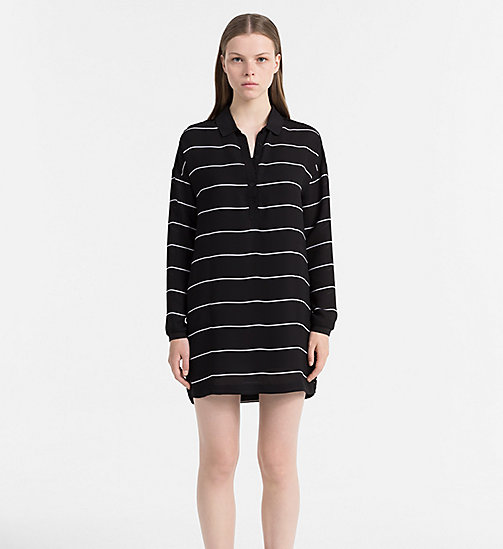CALVIN KLEIN JEANS Striped Shirt Dress - CK BLACK / BRIGHT WHITE - CALVIN KLEIN JEANS DRESSES - main image
