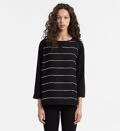 CALVIN KLEIN JEANS Material Mix Striped Top - CK BLACK / BRIGHT WHITE - CALVIN KLEIN JEANS COLD COMFORTS - main image