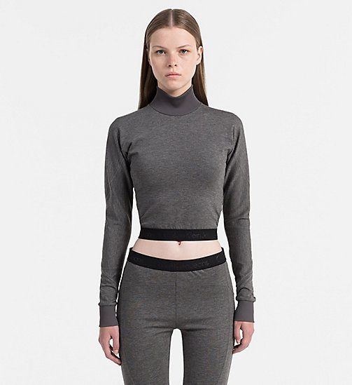 CALVIN KLEIN JEANS Cropped top met col - MID GREY HEATHER - CALVIN KLEIN JEANS SWEATSHIRTS - main image