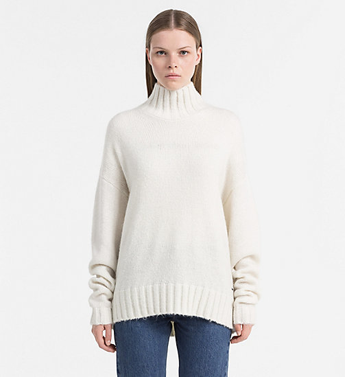 CALVIN KLEIN JEANS Mohair Blend Turtleneck Sweater - EGRET - CALVIN KLEIN JEANS JUMPERS - main image