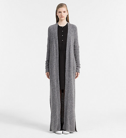 CALVIN KLEIN JEANS Wool Alpaca Long Cardigan - MID GREY HEATHER - CALVIN KLEIN JEANS COLD COMFORTS - main image