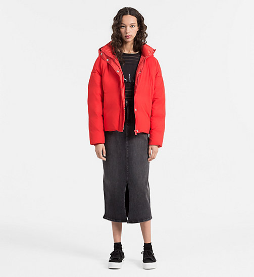 Down Mesh Puffer Jacket - FLAME SCARLET - CALVIN KLEIN JEANS OUTERWEAR - detail image 1