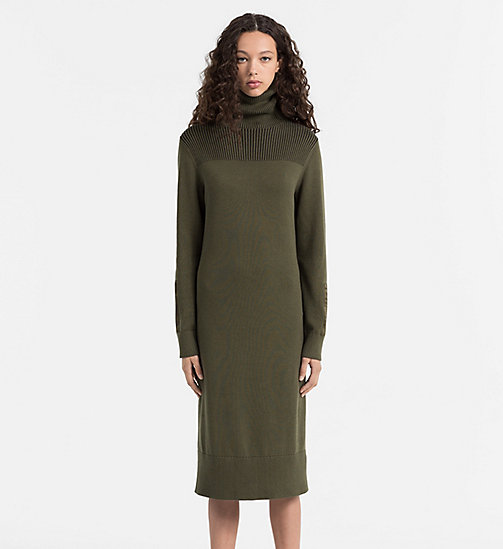 CALVIN KLEIN JEANS Knit Roll Neck Dress - GRAPE LEAF - CALVIN KLEIN JEANS DRESSES - main image